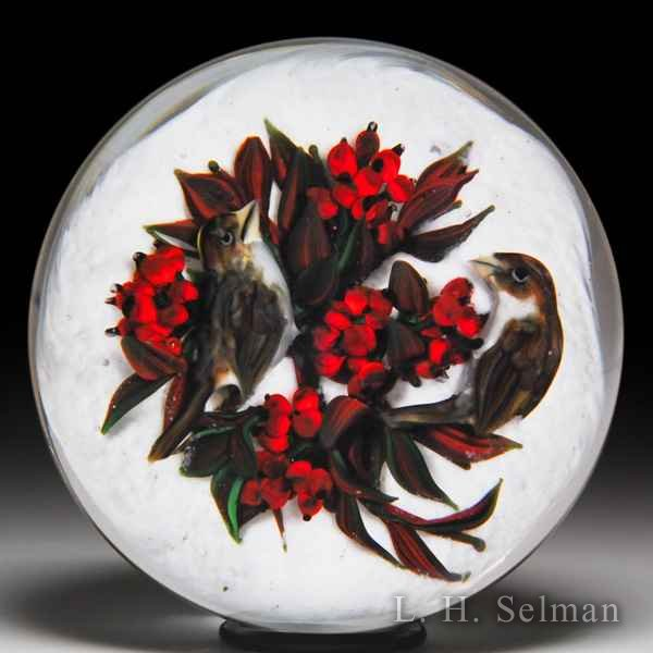 Rick Ayotte 2002 golden-crown sparrows with red berries paperweight. by Rick Ayotte