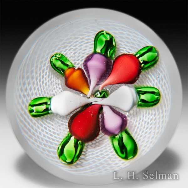 Rare antique Saint Louis seven radishes in a basket glass paperweight. by  Saint Louis antique