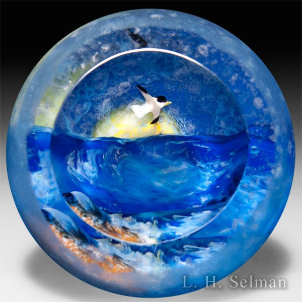 Rick Ayotte 2008 'Midnight Blue' Glasscape series magnum glass paperweight. by Rick Ayotte