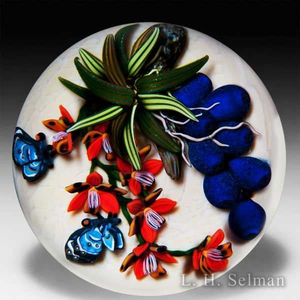 Colin Richardson 2011 'Blue Satyrs, Red Tigers' glass paperweight. by Colin Richardson