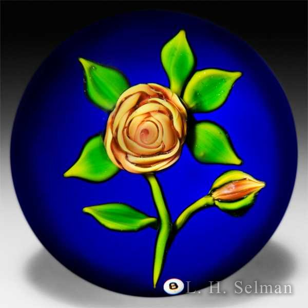 Ray Banford golden rose on cobalt ground paperweight. by Ray Banford