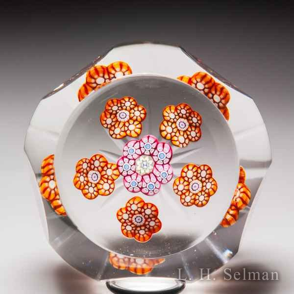 Perthshire Paperweights 1976 faceted patterned millefiori glass paperweight. by  Perthshire Paperweights