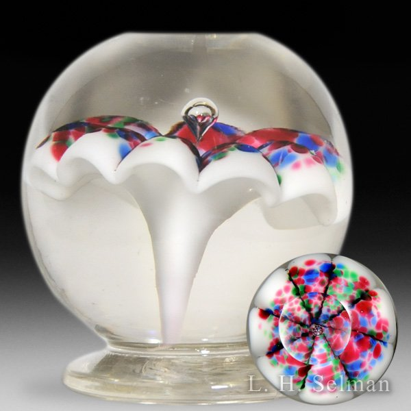 Antique Millville footed umbrella, or mushroom, glass paperweight. by  American
