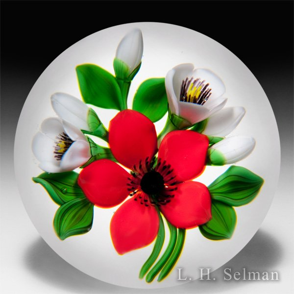 David and Jon Trabucco 1988 red flower with white blossoms glass paperweight. by Jon & David Trabucco
