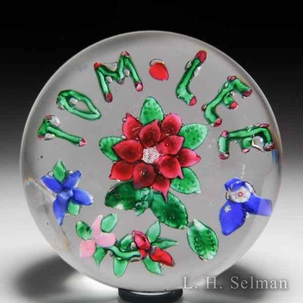 Antique American Somerville Company magnum glass paperweight. by  American