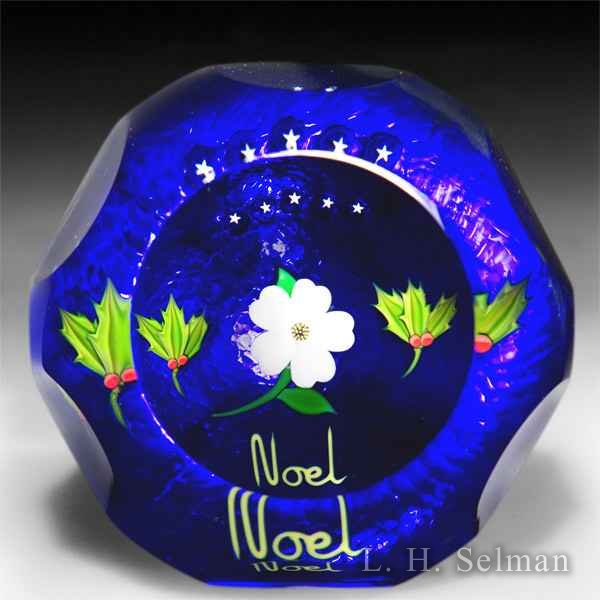Perthshire Paperweights 1987 faceted Christmas 'Noel' paperweight. by Perthshire Paperweights