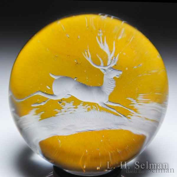 Antique Bohemian engraved stag glass paperweight. by  Misc Antique