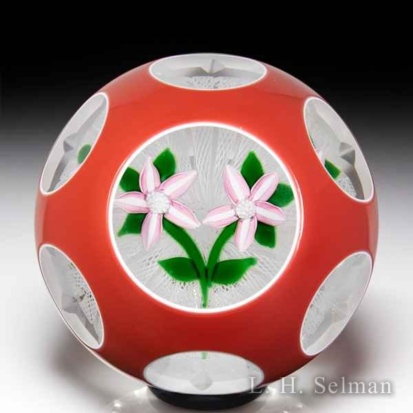 John Deacons 2000 two pink clematis salmon-colored overlay faceted paperweight. by John Deacons