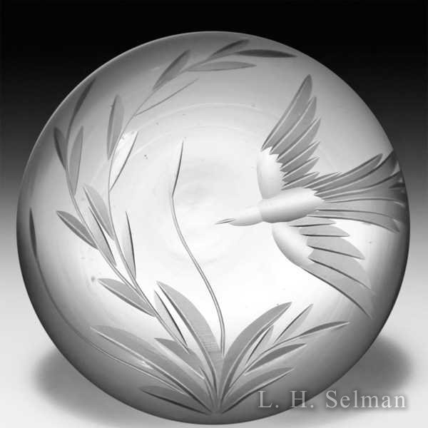 Vandermark 1983 engraved bird and vine clear ground paperweight. by Vandermark-Merritt Studios