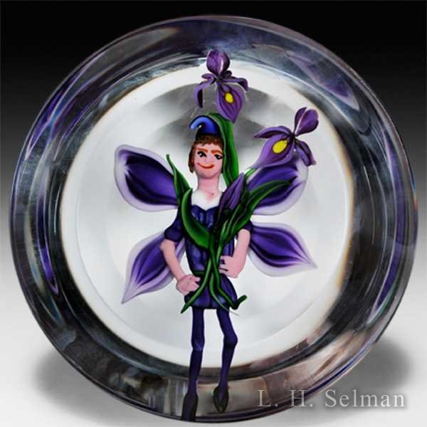 Randall Grubb 1994 iris and fairy disk magnum glass paperweight. by Randall Grubb