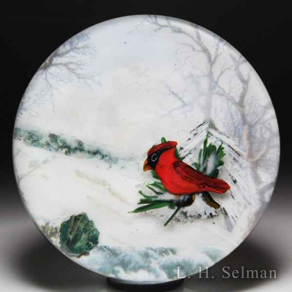"Rick Ayotte 2012 ""After the Storm"" painted landscape with cardinal magnum paperweight. by Rick Ayotte"