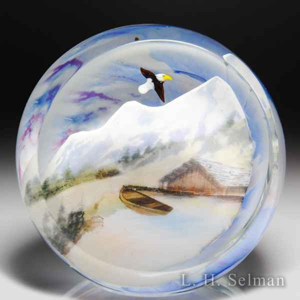 Rick Ayotte 2012 'Above the Clouds' glasscape compound paperweight. by Rick Ayotte