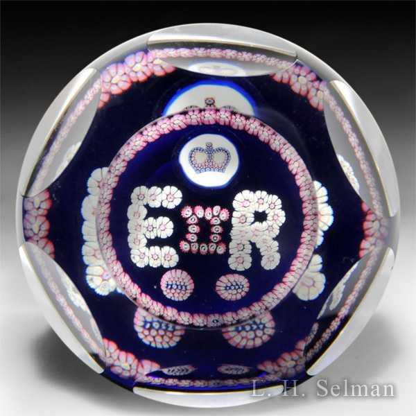 Whitefriars 1977 Queen Elizabeth II accession commemorative patterned faceted glass paperweight. by  Whitefriars