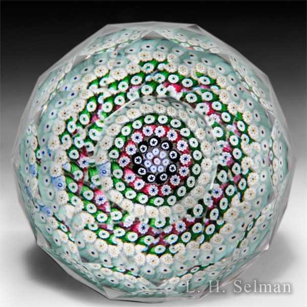 Whitefriars 1973 close concentric fancy diamond cut glass paperweight. by  Whitefriars