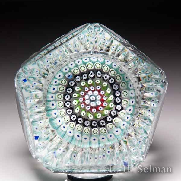 Whitefriars 1971 close concentric faceted glass paperweight. by  WHITEFRIARS