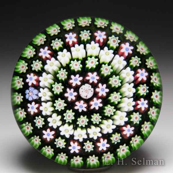 Parabelle Glass 1990 spaced concentric millefiori glass paperweight. by  Parabelle Glass
