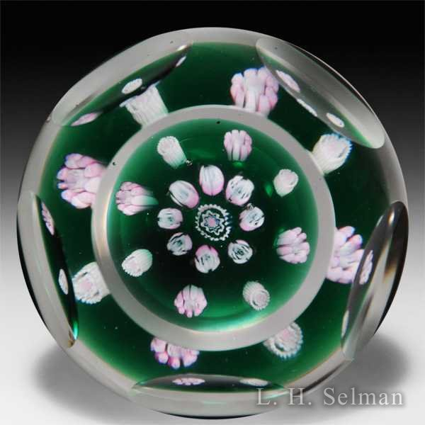 Metropolitan Museum of Art spaced millefiori faceted petite glass paperweight, by Dryden. by  Misc Modern