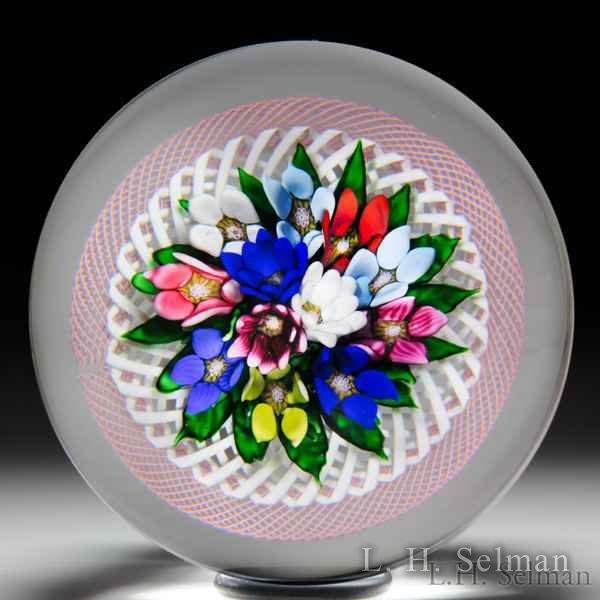Saint Louis 1990 upright bouquet in latticinio basket with pink torsade glass paperweight. by Modern Saint Louis
