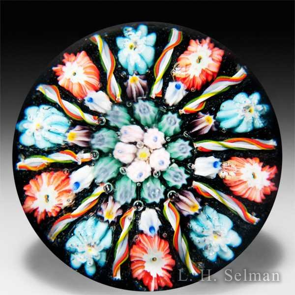 Vasart Glass patterned millefiori with twists glass paperweight. by  Misc Modern
