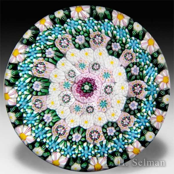 Drew Ebelhare 2013 concentric millefiori with green and white garland glass paperweight. by Drew Ebelhare & Sue Fox
