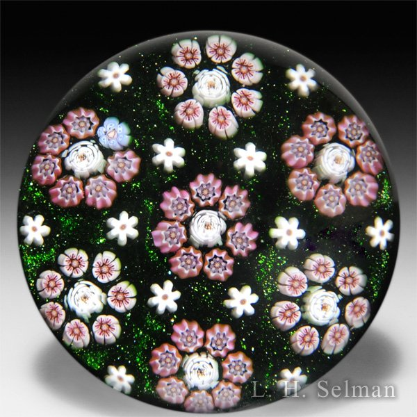 Parabelle Glass 1990 Artist Proof patterned millefiori with circlets paperweight. by Parabelle Glass