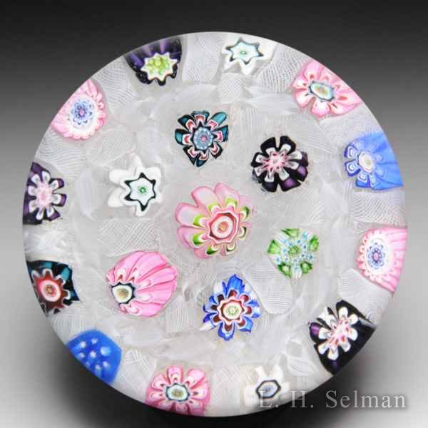 Antique Clichy millefiori chequer glass paperweight. by  Clichy