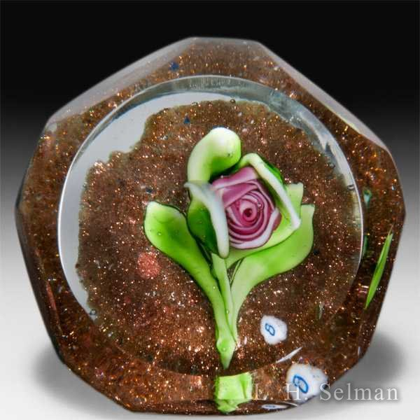 Ray Banford pink cabbage rose on green aventurine ground faceted miniature paperweight. by Ray Banford