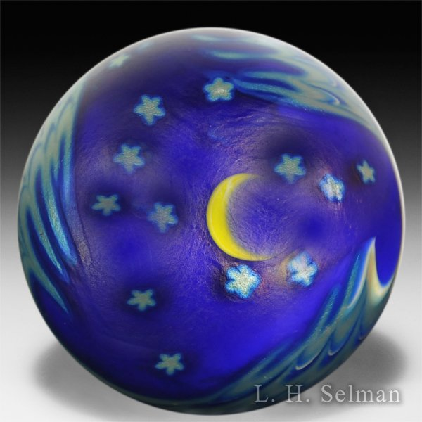 Lundberg Studios 1988 moon and stars surface design paperweight. by Lundberg Studios