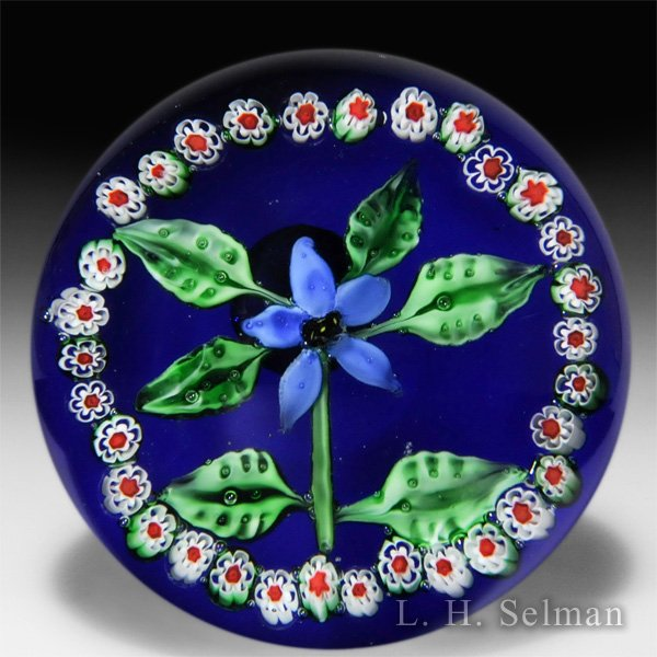 SDS Seapoot Group blue flower with garland magnum paperweight. by Misc Modern