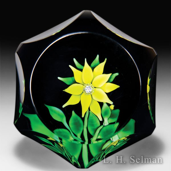 Saint Louis 1970 faceted pistachio clematis and bud glass paperweight. by  Saint Louis