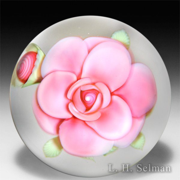 Orient & Flume Art Glass dimensional pink rose and bud paperweight, by Bruce Sillars. by Orient & Flume