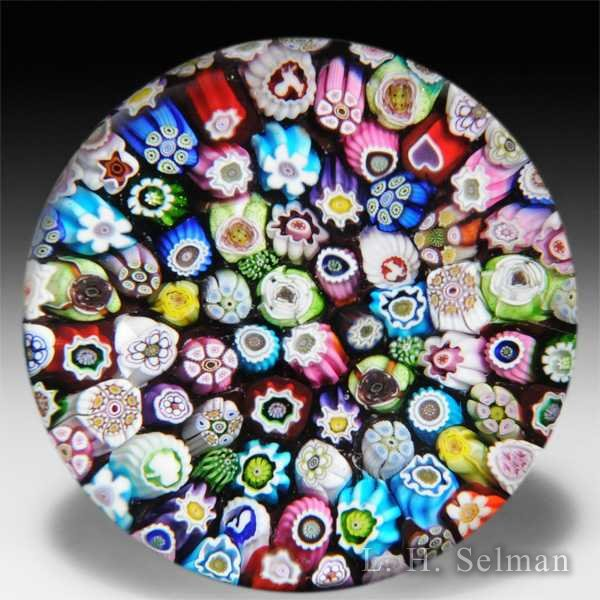 James Lewis Glass 2014 close packed millefiori glass paperweight. by James Lewis