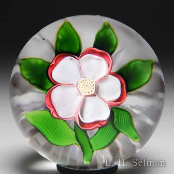 Antique Baccarat red and white dogrose miniature paperweight. by  Baccarat Antique