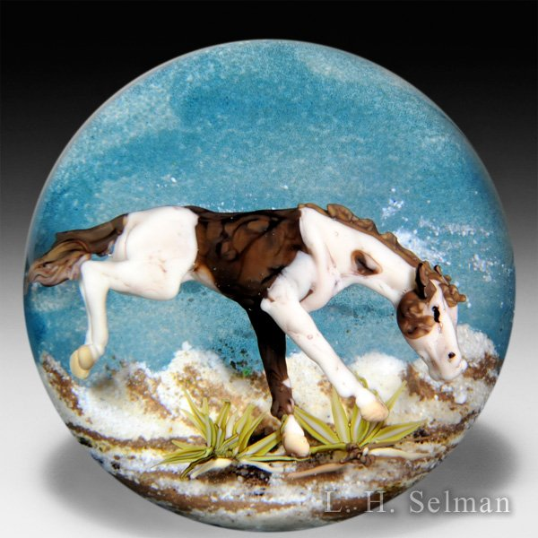 Jim D'Onofrio 2006 'Bucking Pinto' brown and white horse compound glass paperweight. by Jim D'Onofrio