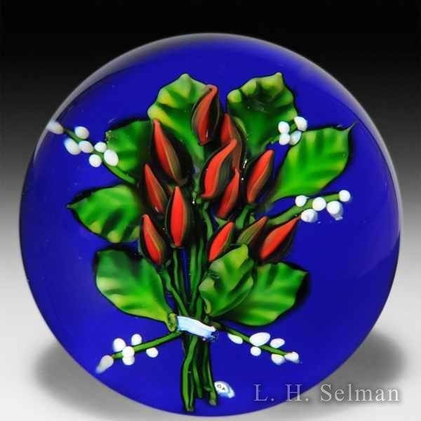 Debbie Tarsitano lily of the valley bouquet pedestal glass paperweight. by Debbie Tarsitano