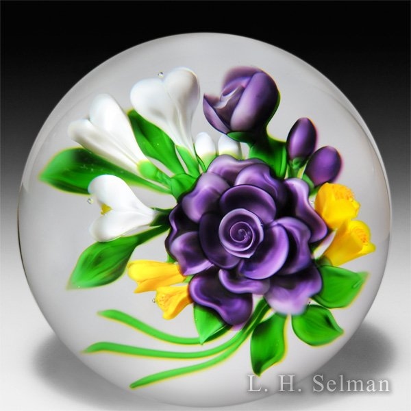 Victor Trabucco 1987 purple rose bouquet glass paperweight. by Victor Trabucco