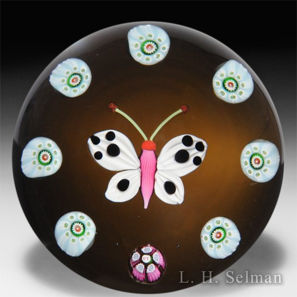 Paul Ysart pink and white butterfly glass paperweight. by Paul Ysart