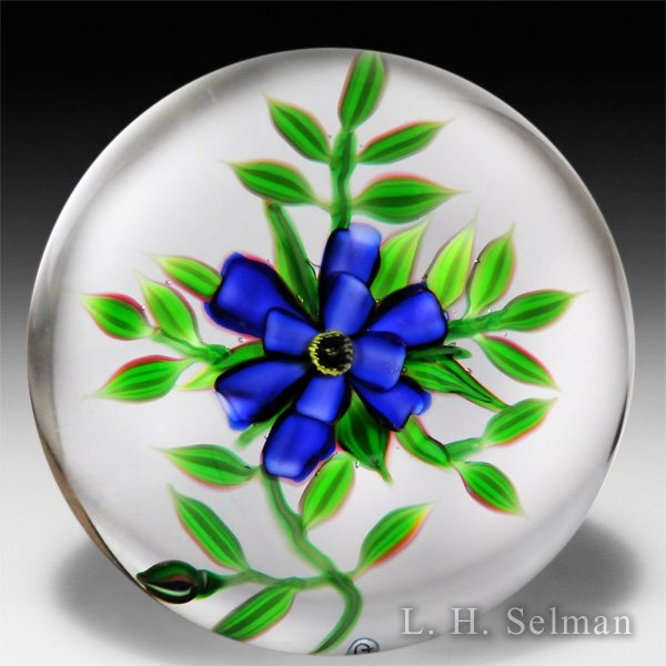 Debbie Tarsitano purple flower with leaves glass paperweight. by Debbie Tarsitano