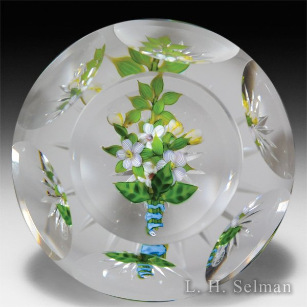 Debbie Tarsitano bound bouquet faceted glass paperweight. by Debbie Tarsitano