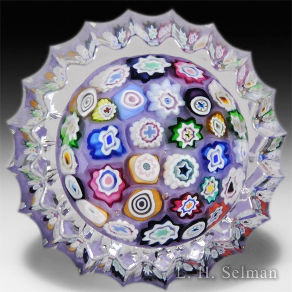 Caithness Glass 2014 miniature multi-faceted concentric millefiori on lilac color ground paperweight, by Peter McDougall. by Caithness  Glass Inc
