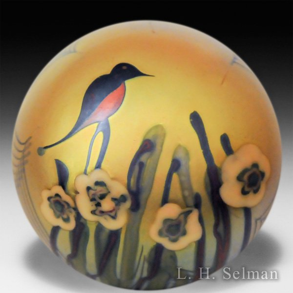 Orient & Flume 1976 bird and flowers surface design glass paperweight. by  Orient & Flume