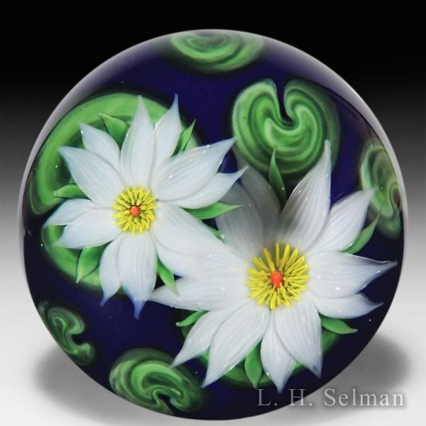 Lundberg Studios 1987 two water lilies compound glass paperweight, by Steven Lundberg. by  Lundberg Studios