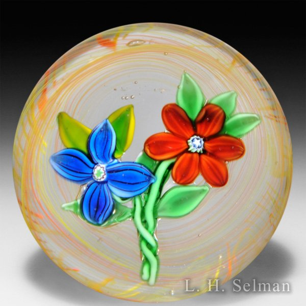 Ronald Hansen two flowers miniature paperweight. by Ronald Hansen