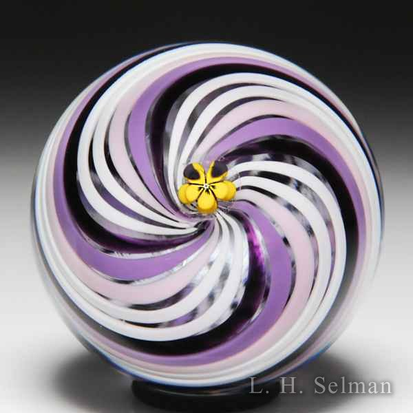 Mike Hunter 2014 swirl miniature glass paperweight. by Twists Glass Studio