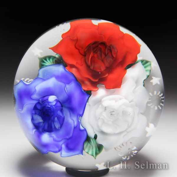 Lundberg Studios 2014 red, white and blue flowers bouquet with stars and stripes glass paperweight, by Danny Salazar. by  Lundberg Studios