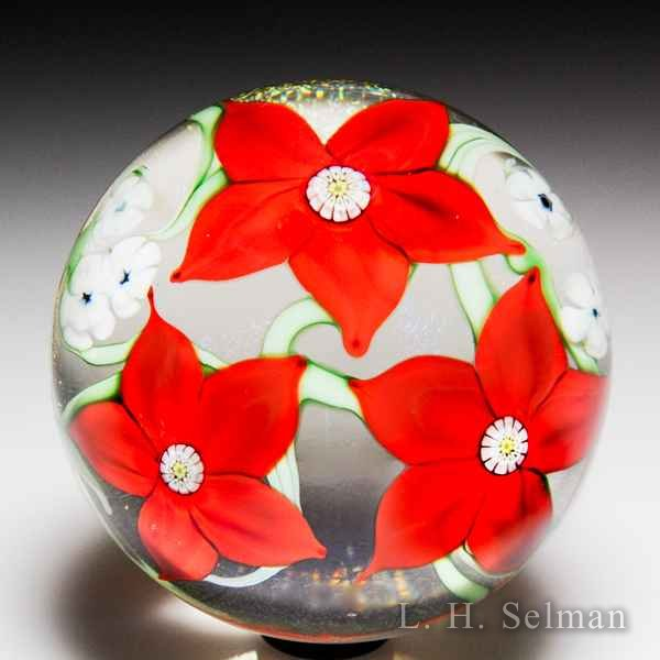 Orient & Flume red flower trio glass paperweight. by  Orient & Flume