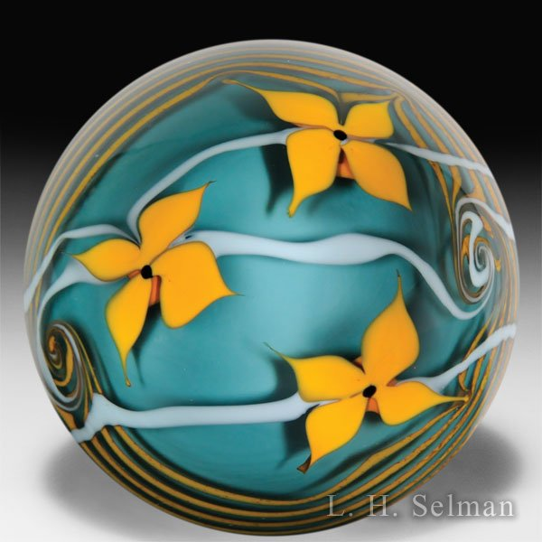 Bridgeton Studio 1978 yellow flowers surface design paperweight. by Misc Modern