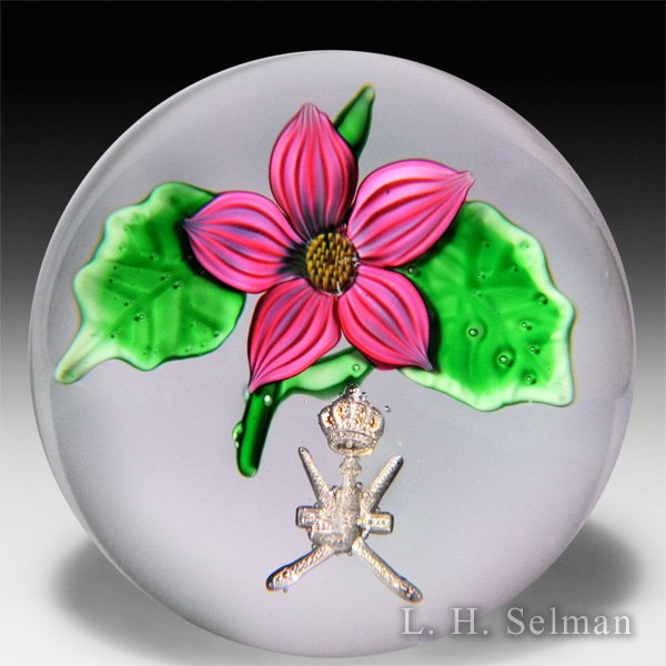 Saint Louis pink flower and Sultan of Oman coat of arms glass paperweight. by Modern Saint Louis