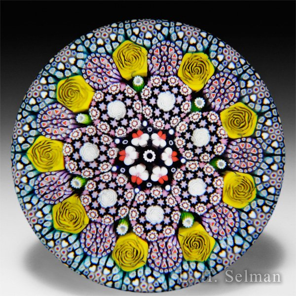 Mike Hunter 2015 close concentric millefiori with roses glass paperweight. by Twists Glass Studio