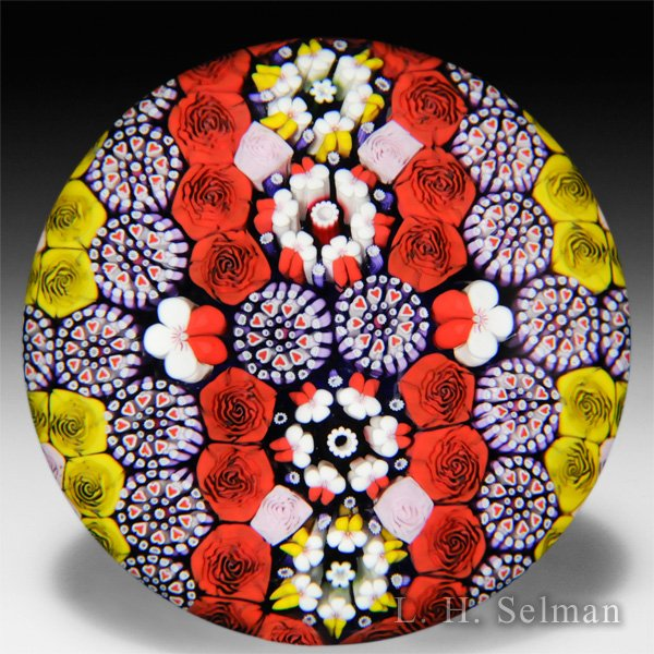 Mike Hunter 2015 patterned millefiori with pansies and roses paperweight. by Twists Glass Studio